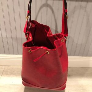 Louis Vuitton Red Epi Leather large tote bag